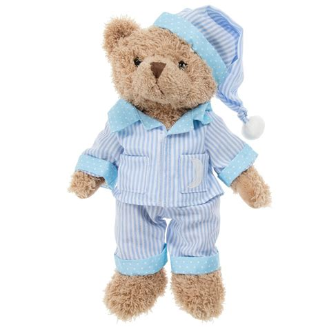 Teddy Piyama powell craft blue stripe pyjama teddy 30cm