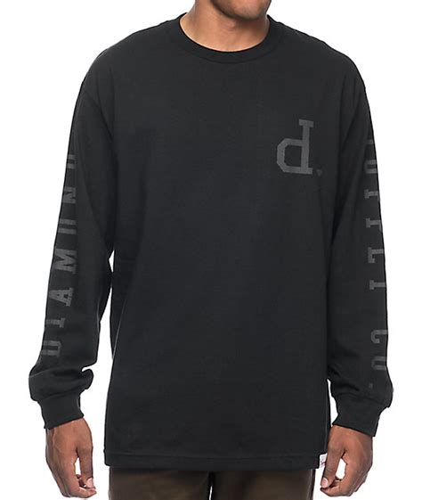 Tshirt Longsleeve supply co tonal un polo black sleeve t shirt