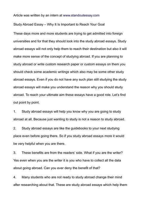 Living Abroad Essay by Calam 233 O Study Abroad Essay Why It Is Important To Reach Your Goal
