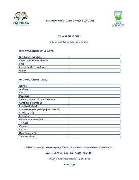 hoja de solicitud de inscricion f 300 formulario unico de view image ficha de inscripci 243 n jard 237 n y liceo