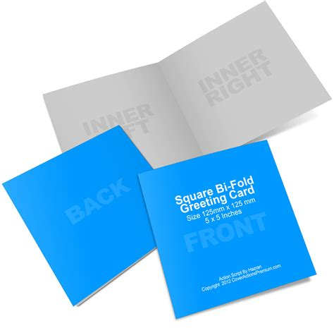 square bi fold greeting card mockup cover actions