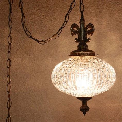 vintage swag ls that plug in vintage hanging light hanging l glass globe chain
