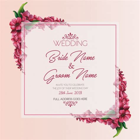 Wedding Invitation Card Cdr by Watercolor Floral Wedding Invitation Card Vector Free