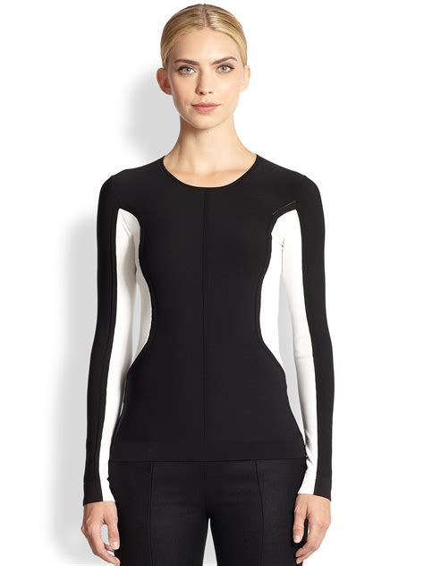 color block tops lyst narciso rodriguez seamed colorblock top in black