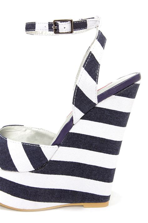 Erotokritos Blue And White Stripe Wedge by Striped Shoes Platform Wedges Striped Wedges 49 00