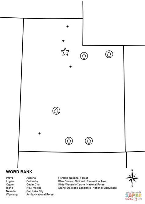 utah map coloring page utah map worksheet coloring page free printable coloring