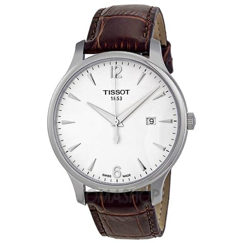 Tissot Tradition T0636101603700 tissot t classic tradition silver brown leather s t0636101603700 tradition t