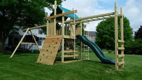 outdoor playsets  monkey bars plans wooden swing
