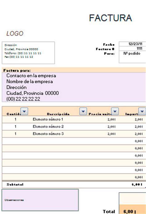 formato de facturas en excel mexico ejemplo de factura simplificada en excel modelos de facturas