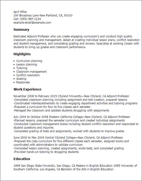 Professor Resume by 1 Adjunct Professor Resume Templates Try Them Now