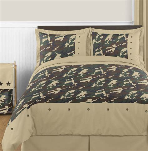 green camouflage kids full queen size bed bedding