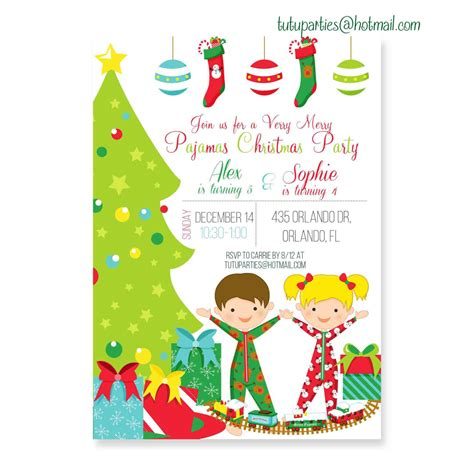christmas pajama party invitation pajamas and by ohtutuparty