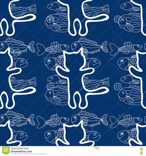 seamless pattern cats seamless pattern of the cats and fish vector stock vector