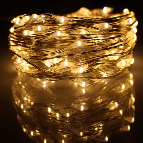 Outdoor Led String Lights 10m 33ft 100 Led Usb Outdoor Led Silver Wire String Lights