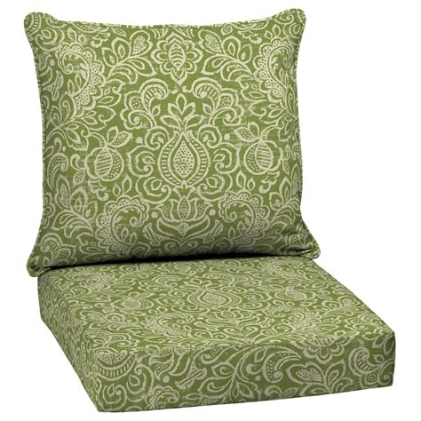 Outdoor Patio Chair Cushions Shop Garden Treasures Green Stencil Seat Patio Chair Cushion At Lowes