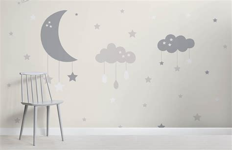 baby girl wallpaper uk baby clouds and moon wall mural murals wallpaper