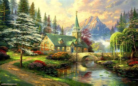 wallpaper painting fantasy art nature bridge autumn