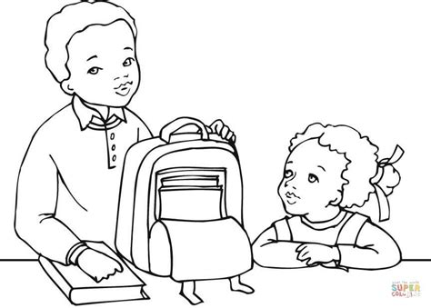 coloring page of a girl and boy african american boy and girl getting ready for school