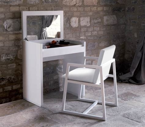 Small Vanity Desk Simple White Wooden Small Vanity Table Plus Chair Set Paving Floor And Brick Wall