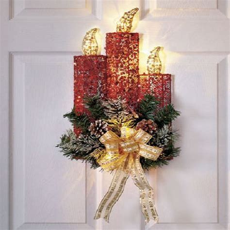 Lighted Christmas Wreath Holiday Candle Door Wall Ornament Lighted Door Wreaths For