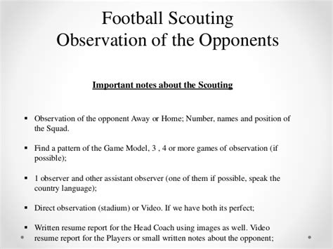 football scouting report template football scouting observation of the opponents mauro jer 243 nimo