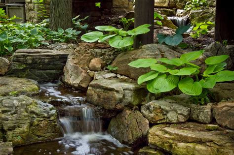 aquascape design waterfall suburban woodsy waterfall and stream eclectic
