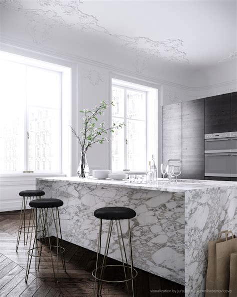 marble island kitchen waterfall edge countertop design ideas