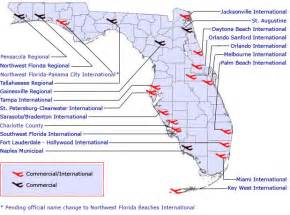 florida map with cities and airports commercial airports
