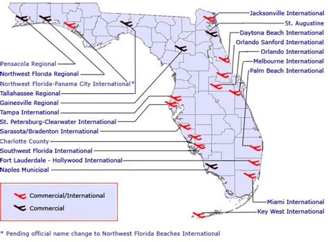 map of florida airports commercial airports
