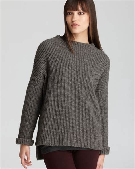 shaker knit sweater vince sweater rib stitch shaker knit crew in gray granite