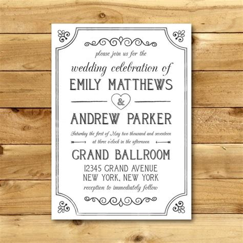vintage templates for word printable vintage style wedding invitation template dark