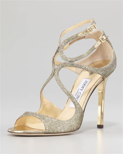 sandal photo jimmy choo lang glittered strappy sandal pewter in gold