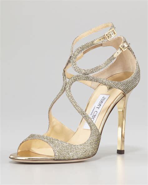 Jimmy Choo Kelis Sandal by Jimmy Choo Lang Glittered Strappy Sandal Pewter In Gold