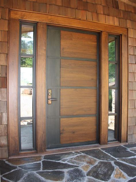 Front Doors Steel Contemporary Front Door Of Stained Wood And Rolled Steel Home Inspirations