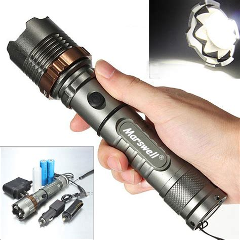 5000lm led flashlight focus torch rechargeable w 2pcs