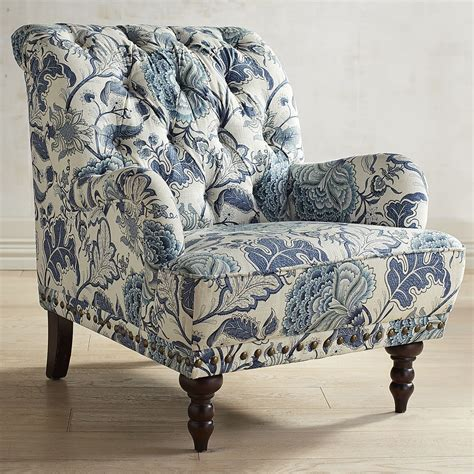 blue and white armchair chas indigo blue floral armchair pier 1 imports