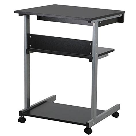 desk with drawers and printer shelf topeakmart black wood small laptop computer cart desk with