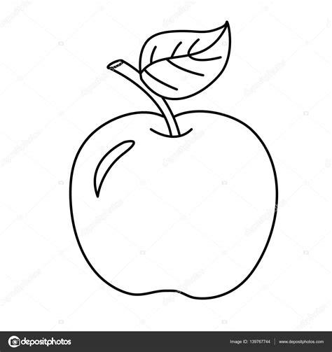 Barevné stránky obrys kreslený apple. Ovoce. Omalovánky
