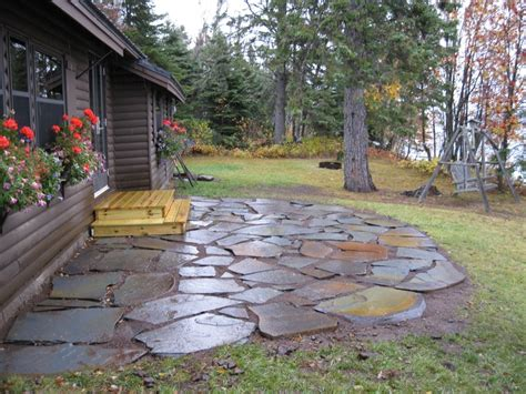 stone backyard patio stone patios flagstone patio caribou cabin service
