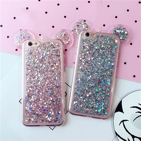Casecassingcasing For Iphone 6 6s Plus Soft Minnie shinny glitter mickey mouse minnie big ear soft tpu cover for iphone x 8 8plus 7 7plus 6 6s