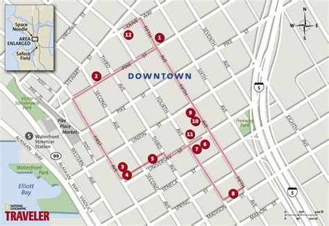 seattle map downtown shopping seattle walking tour downtown national geographic s