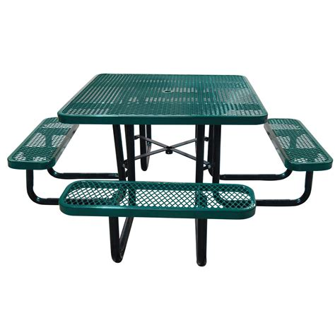 steel picnic table leisure craft commercial square expanded metal picnic