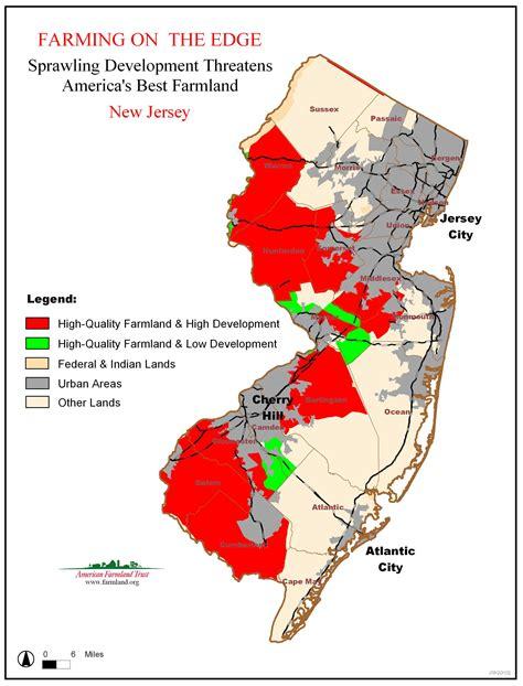 california new jersey map farming on the edge state maps american farmland trust
