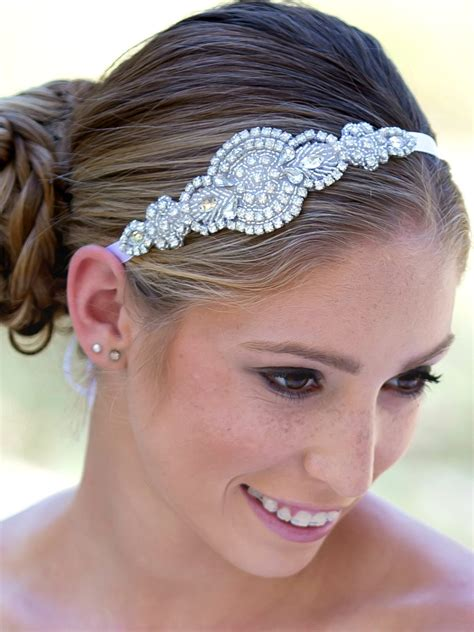 Wide Silk Jewelled Headbands At Shop Intuition by Rhinestone Bridal Headband Bridal Hairpiece Flower