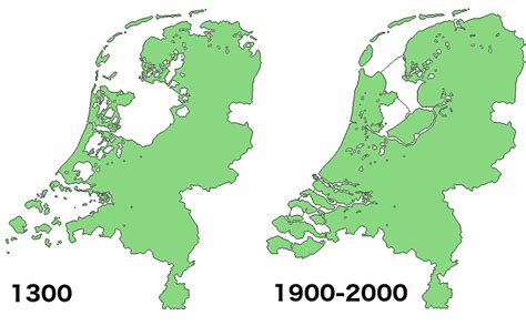 netherlands map reclaimed land land reclamation in the netherlands 1300 vs 2000