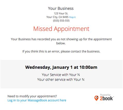 credit card on file for missed appointments template sending automated appointment emails to clients massagebook