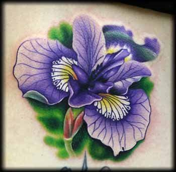 february birth flower tattoo purple iris flower