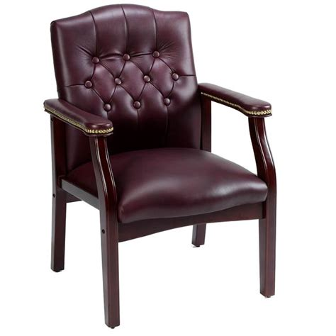 leather guest chair shop traditional executive burgundy bonded leather guest