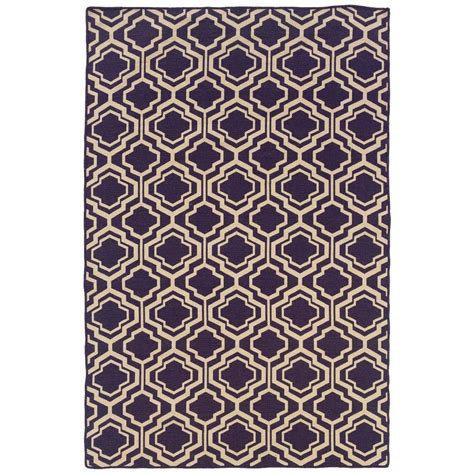 linon home decor rugs linon home decor salonika db quatrefoil purple 5 ft x 8