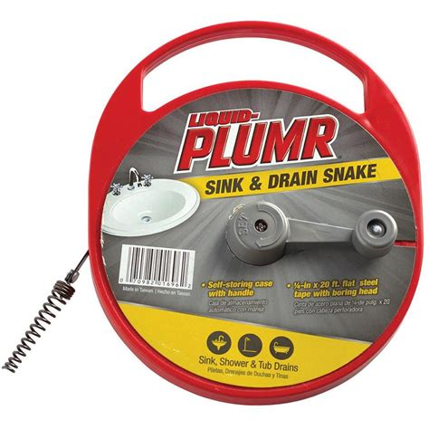 liquid plumr for kitchen sinks shop liquid plumr 1 4 in x 20 ft flat rod drain auger at